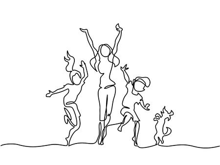 Disegno continuo. Madre felice ballando con bambini e cane. Illustrazione vettoriale Totale modificabile, scegli lo spessore e il luogo della linea