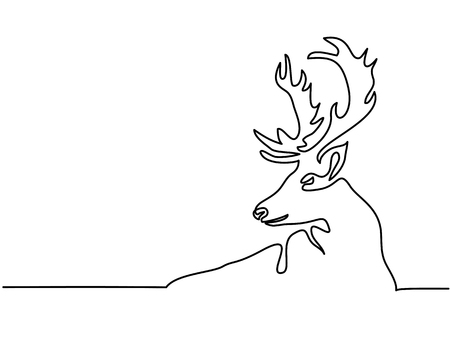 Continuous line drawing. Christmas reindeer. Total editable, choose thickness and place of line Vektorové ilustrace