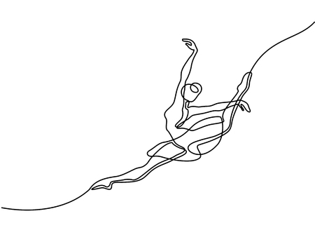 Continuous line art drawing. Ballet dancer ballerina jumping. Vector illustration