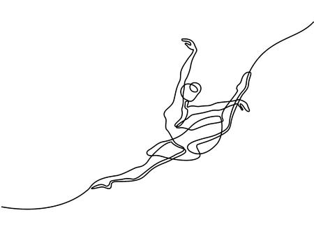Línea continua de dibujo de arte. Bailarina de ballet bailarina saltando. Ilustración vectorial Foto de archivo - 88847506
