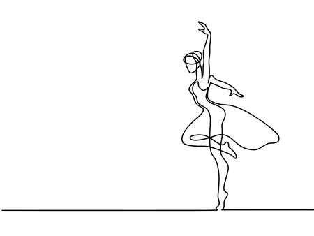 Continu lijntekening. Balletdanseres Ballerina. Vector illustratie