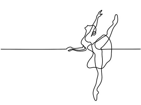 Continuous Line Art Drawing. Ballet Dancer ballerina. Vector Illustration Vettoriali