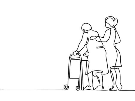 Dessin au trait continu. Jeune femme aide la vieille femme en utilisant un cadre de marche. Illustration vectorielle