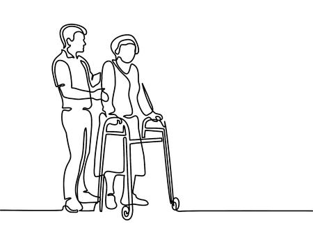 Ciągłe rysowanie linii. Młody człowiek pomaga staruszce za pomocą chodzenia. Ilustracji wektorowych