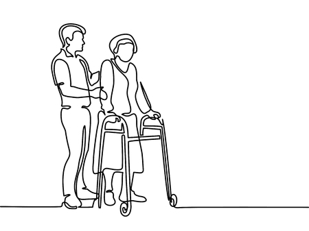 Continuous line drawing. Young man help old woman using a walking frame. Vector illustration
