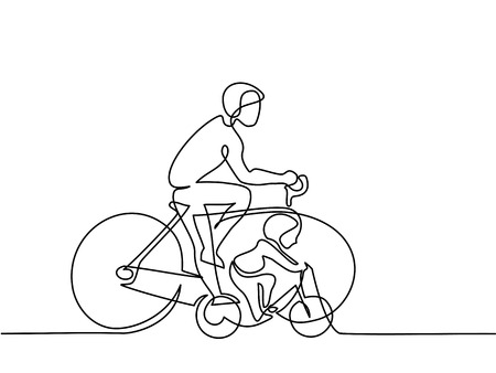 Continuous line drawing. Father with son drive bicycles. Vector illustration Illustration