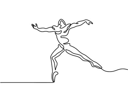 連続ライン アート図面 - バレエ ダンサー男。