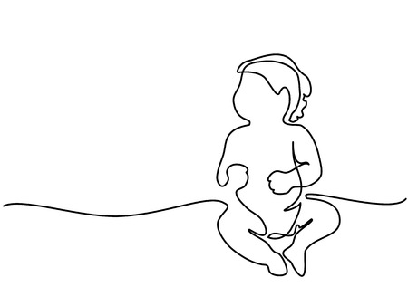 連続線の描画 - 座っているかわいい赤ちゃん  イラスト・ベクター素材