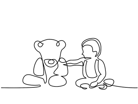Continuous line drawing - Little boy sitting with teddy bear