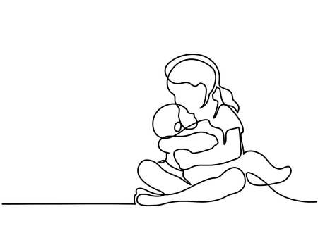 Continuous line drawing - Happy toddler girl playing with her newborn baby brother.