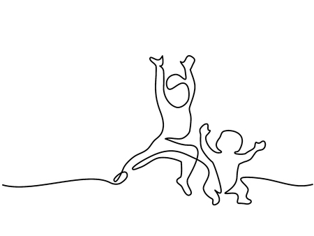 Continuous line drawing. Happy toddler girl playing with her baby brother. Vector illustration Ilustração