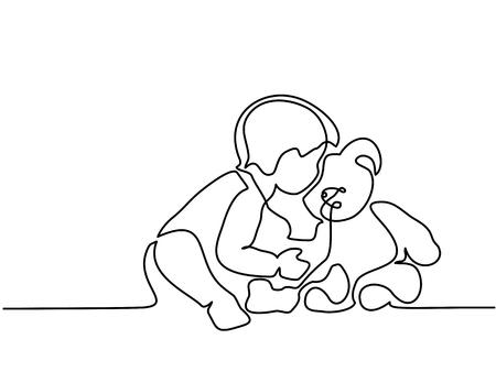 Desenho de linha contínuo. Rapaz pequeno que senta-se com o urso de peluche no fundo branco. Ilustração vetorial Ilustración de vector
