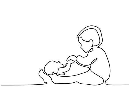 Continuous line drawing. Happy toddler girl playing with her newborn baby brother. Vector illustration