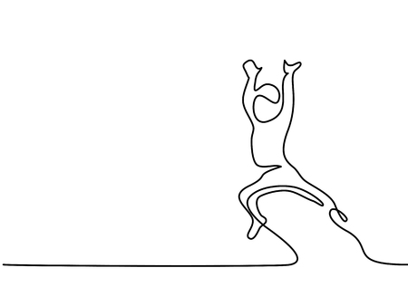 Continuous line drawing. Happy toddler boy jumping. Vector illustration