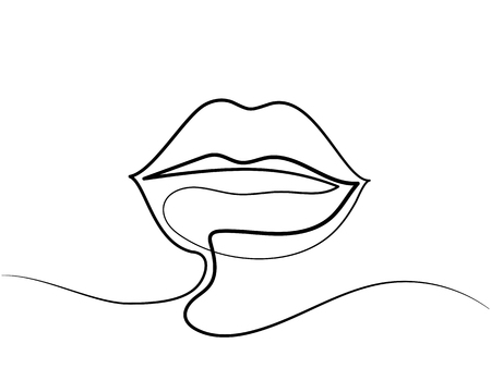 Line Drawing Face Woman : Continuous line drawing beautiful woman s lips logo black and