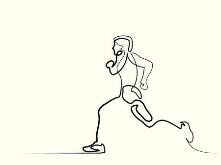 Continuous line drawing. Sport running man. Vector illustration.
