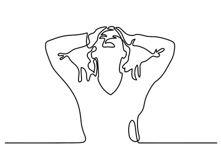 Continuous line drawing. Woman screaming in despair. Vector illustration