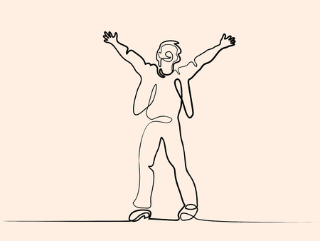 Dibujo de línea continua. Hombre gritando en el cielo. Ilustración vectorial Ilustración de vector