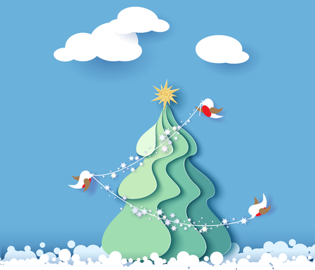 Color paper cut design and craft winter landscape with evergreen tree, birds and snowflakes. Holiday nature and christmas tree. Web banner. Vector illustration.