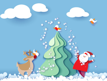 Color paper cut design and craft winter landscape with evergreen tree, reindeer, Santa, clouds. Holiday nature and christmas tree. Vector illustration. Merry Christmas card.