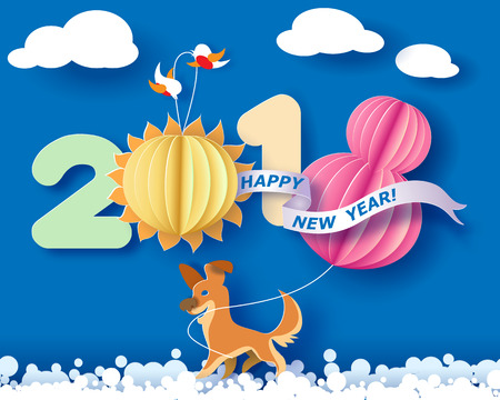 Color paper cut design and craft winter landscape with birds, dog and digit 2018. Holiday New year and Merry Christmas card. Vector illustration Illustration