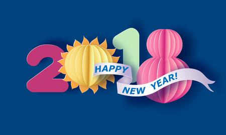 Diseño de corte de papel y dígito de manualidades 2018. Tarjeta de año nuevo de vacaciones. Ilustración vectorial Ilustración de vector