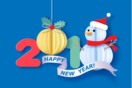 Paper cut design and craft with snowman and digit 2018. Holiday New year and Merry Christmas card. Vector illustration