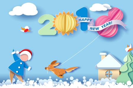 Diseño de corte de papel y artesanía paisaje de invierno con árbol de Navidad, pájaros, perro y dígitos 2018. Tarjeta de vacaciones de año nuevo y feliz Navidad. Ilustración vectorial