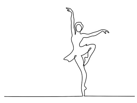 Continuous Line Art Drawing. Ballet Dancer ballerina. Vector Illustration Ilustração