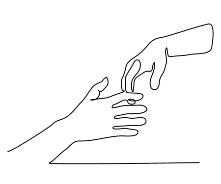 Continuous line drawing. Man and woman hold hands together Vector illustration Vettoriali