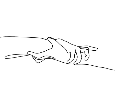 Continuous line drawing. Man and woman hold hands together Vector illustration Ilustracja