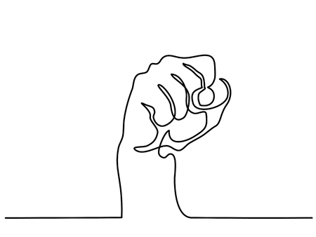 Continuous line drawing. Hand with fist. Vector illustration.