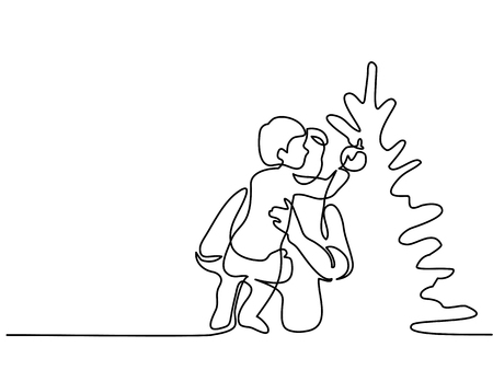 Continuous line drawing. Father helping son to decorate Christmas tree. Vector illustration. Vector Illustration