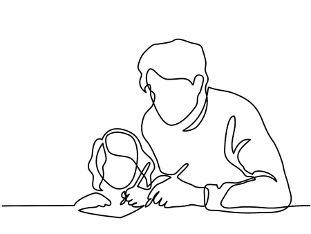 Continuous Line Art Drawing. Father And Small Daughter Writing Letter To Santa Together. Vector Illustration.