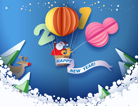 Colorful paper cut design and craft winter landscape with Santa Claus and dog traveling with air balloon.