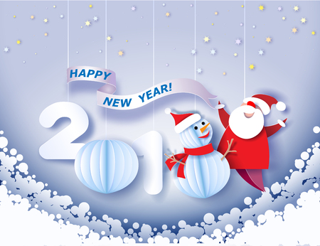 Paper cut design and craft winter landscape with snowman, Santa Claus and digit 2018. Holiday New year and Merry Christmas card. Vector illustration.