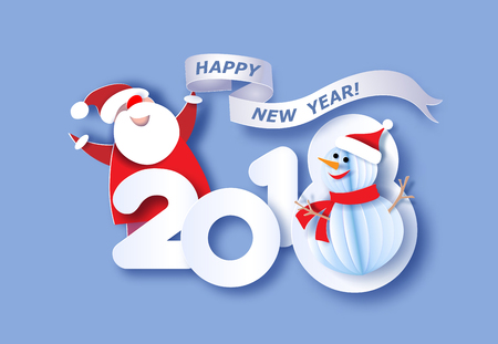Paper cut design and craft digit 2018 with Santa Claus and Snowman. Holiday New year card. Vector illustration.