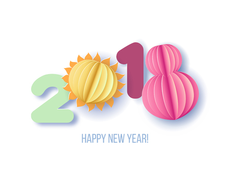 Paper cut design and craft digit 2018. Holiday New year card. Vector illustration. Illustration