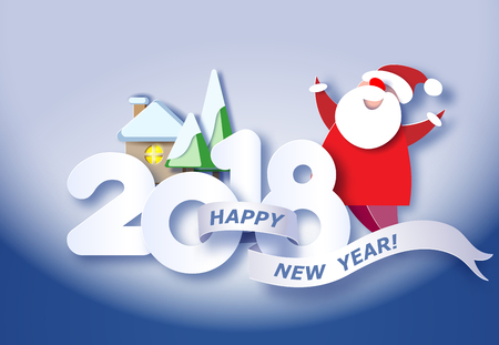 Color paper cut design 2018 and craft winter landscape with evergreen tree, house, Santa Claus. Vector illustration. Happy new year card.