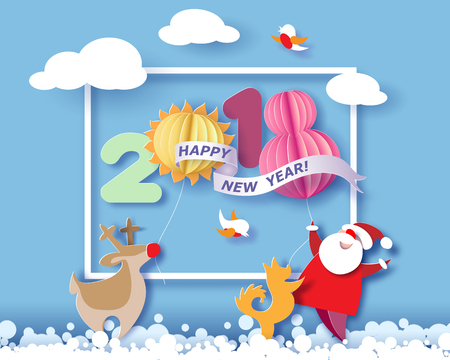 Color paper cut design and craft winter landscape with reindeer, Santa Claus, dog and digit 2018. Holiday New year and Merry Christmas card. Vector illustration