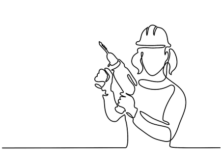 Continuous line drawing of a woman wearing helmet holding drill tool.