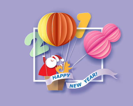 Color paper cut design and craft winter landscape with Santa Claus and dog traveling on air balloon.