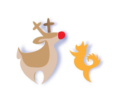 Color paper cut design and craft reindeer, dog.