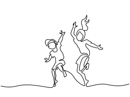 幸せなジャンプとダンスの子供たち。連続線画。白い背景のベクトルイラストレーション