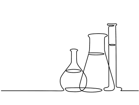 Continuous line drawing lab equipment. Stock Illustratie