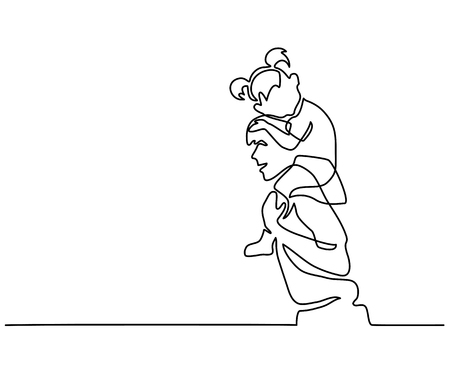 Father with little daughter sketch.