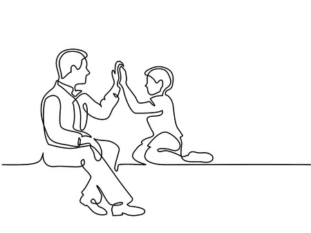 Continuous line drawing. Father and son sitting together. Vector illustration Total editable, choose thickness and place of line Stock Photo