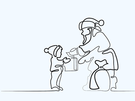Continuous line different width drawing. Santa Claus present gift to small child. Vector illustration