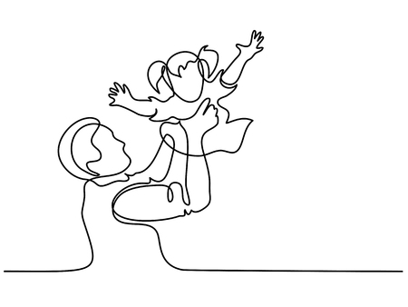 Continuous line drawing. Father holding happy daughter up in air. Vector illustration Stock Photo