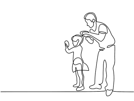 Continuous line drawing. Father makes up hair to his little daughter. Vector illustration